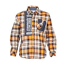 Orange Long Sleeved Checked Boys Shirt