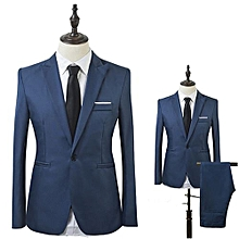 Men Slim Fit Business Leisure One Button Formal Two-Piece Suit for Groom Wedding-Sapphire Blue