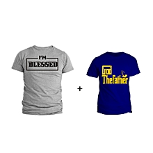God Father Blue T-shirt Design and Am Blessed Grey T-shirt Design