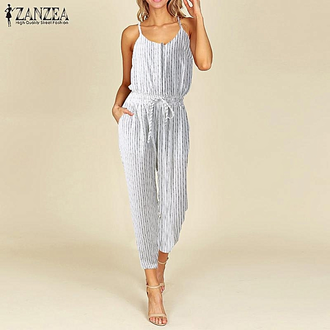 464a451fb30 ZANZEA Women Strappy Buttons Jumpsuit Casual Stripe Overall Long Pants Romper  Playsuit