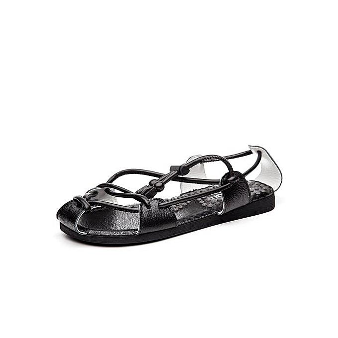 7bf636ae1 Men Sandals Genuine Leather Men Beach Shoes Fashion Summer Sandals Men  Slippers Black Sandals(Black