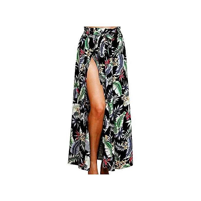 6a399c13ed Hiaojbk Store Women Boho Maxi Skirt Beach Leaf Print Holiday Summer High  Waist Long Skirt-