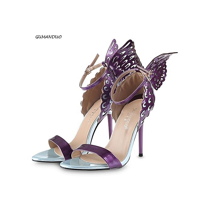 0d85aefbe26 Fashion Sexy Butterfly Wings Ladies Thin High Heel Sandals-PURPLE ...