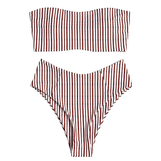 Fashion Bandeau Striped High Cut Bikini Set - RED S   Best Price ... 4b8e2bd7a