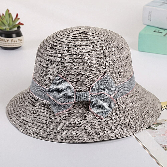 34a41f216d546c Simple Vacation Bowknot Hiking Straw Cap Outdoor Beach Kids Adults Wide Brim  Fashion Summer Women Hats