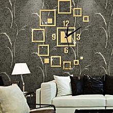 Creative Square Wall Clock Sticker-Gold