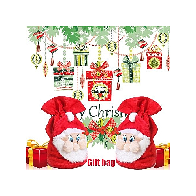 8e022f52e73d Christmas Santa Claus Candy Bag Cute Xmas Gift Large Sack Drawstring Decor