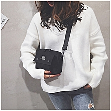 Canvas Letter Shoulder Bag Shoulder Messenger Bag Ladies Small Backpack (Black)