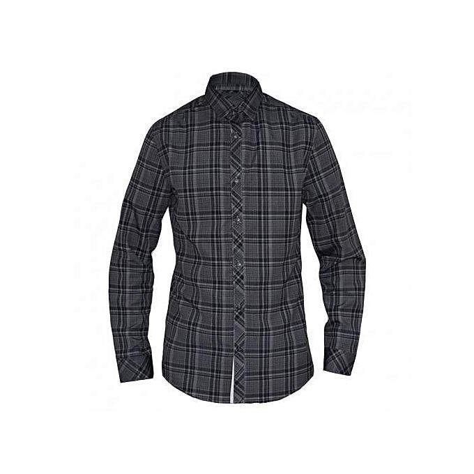 Grey Checked Mens Long Sleeved Casual Shirts