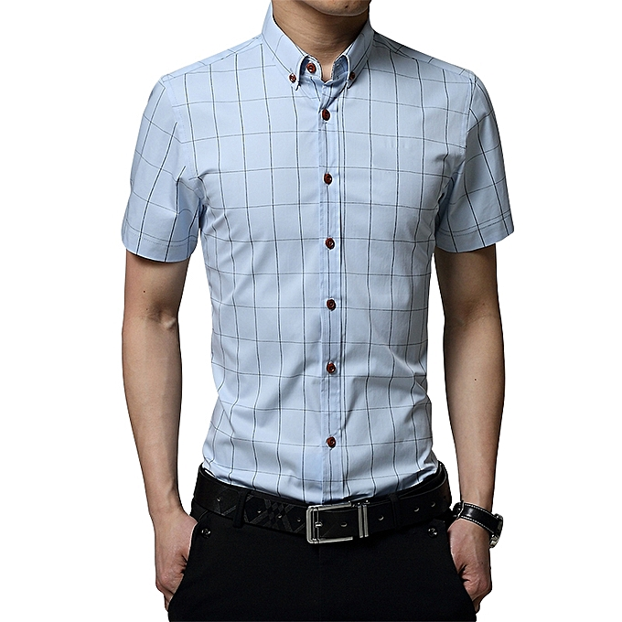 c887cb038d81 2019 Men s Short Sleeve Shirt Summer Business Formal Casual Plaid Checked  Top T Shirts-Light