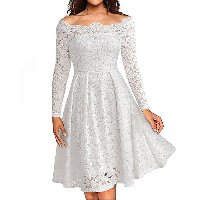 74decd24d6bd2 Women Vintage Off Shoulder Lace Formal Evening Party Dress Long Sleeve Dress  Off Shoulder Lady Dress