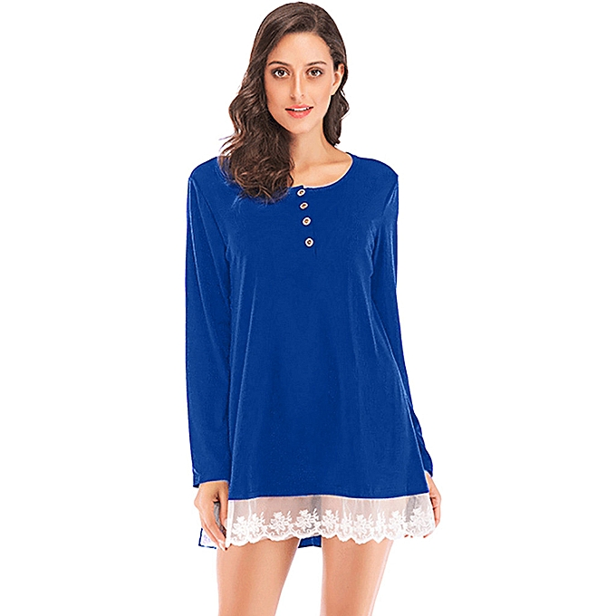 f58a0aee5f6 huskspo Women Spring Long Sleeve O Neck Lace Patchwork T Shirt Pullover Tops  Blouse