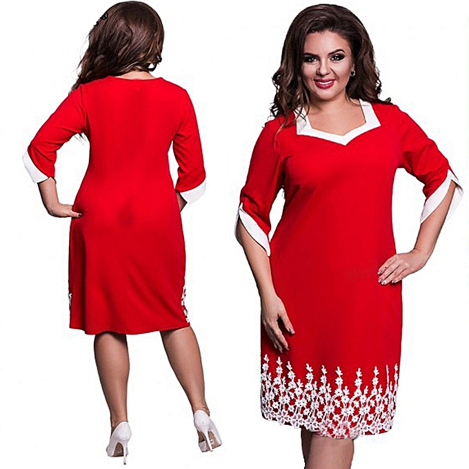 Buy Generic New Big Size Dress Mid Length Dress Middle Sleeve Lace