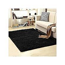 Fluffy Rug Anti-Skid Shaggy Area Rug Dining Room Carpet / Bed Side Carpet Floor Mats -Black