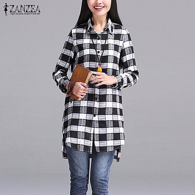 35e6c514 ZANZEA Women Autumn Plaid Shirts Lapel Long Sleeve Asymmetrical Split  Blouses Loose Casual Blusas Tops Oversized