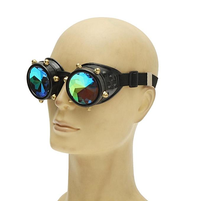 242b15844f ... Festivals Kaleidoscope Glasses Vintage Rainbow Crystal Windproof  Sunglasses Gift -Black ...