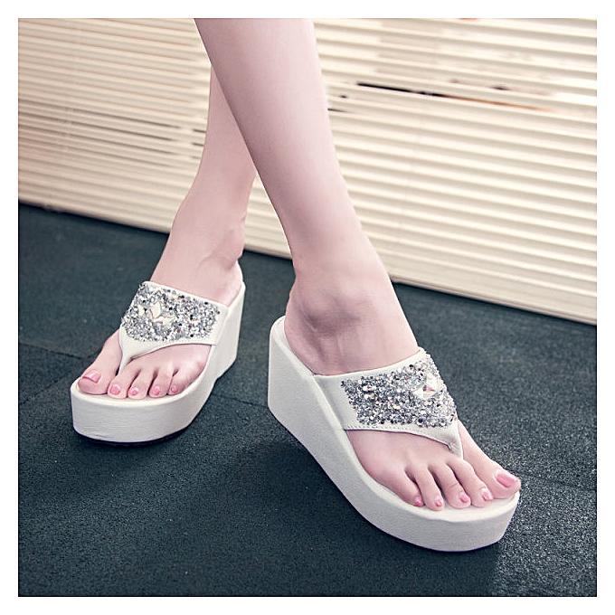 caa90988d06e Fashion Sequins Sandals Shoes Platform Wedge Flip-Flops Slippers ...