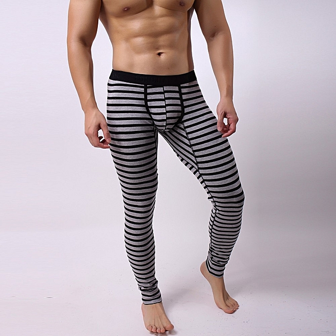 da22fafb5a Hiamok_Mens Striped Breathe Patchwork Low Rise Leggings Long Johns Thermal  Pant ...