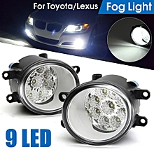 For Toyota Corolla Camry Yaris Lexus Front 9 LED DRL Driving Fog Light Lamps