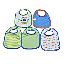 5 Pieces Washable Cotton Bibs - Peanut