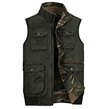 Mens Casual Military Outdoor Cotton Double Sided Wear Fishing Multifunctions Vest