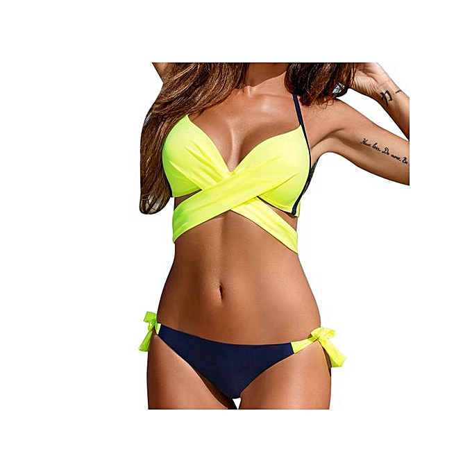 174403075c Xingbiaocao Push-up Padded Bra Swimsuit Bathing Sexy Women Bikini Set  Swimwear -yellow
