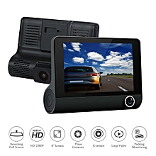 3 Lens Car Dash Camera 4-inch - Black