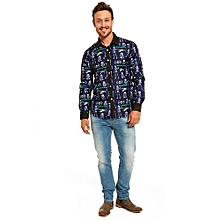 Men Hallowe Casual Stylish Slim Fit Long Sleeve Casual Formal Blouse Shirts Tops-navy   XL