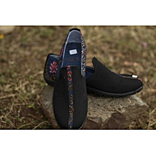 Men's Black Suede, Ankara Detail Casual Slip On Shoes
