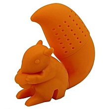 Squirrel Tea Infuser Loose Leaf Strainer Herbal Spice Silicone Filter Diffuser Orange