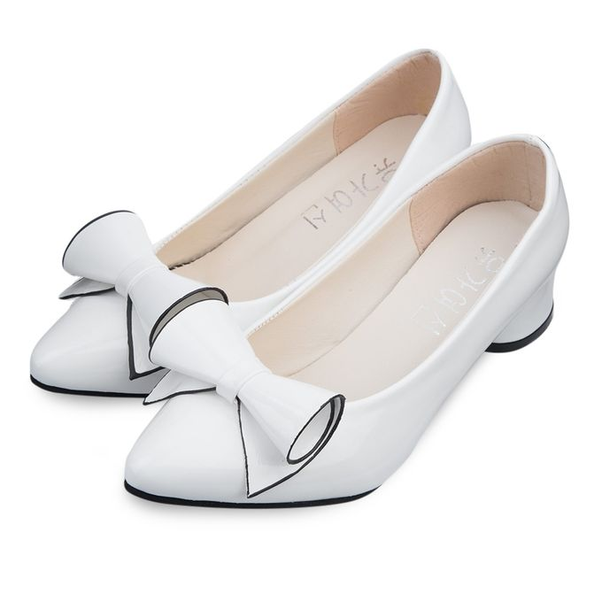 Fashion Fashionable Lady Pointed Toe Bowknot PU Leather Low Heel ...
