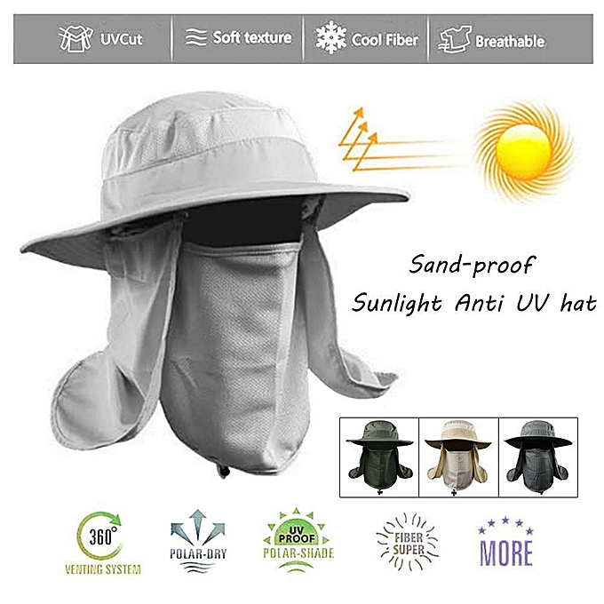 49335748949 ... Hiking Fishing Hat Outdoor Sport Sun Protection Neck Face Flap Cap Wide  Brim ...