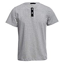 Men's Short Sleeved Shirt with Button Decoration - Grey
