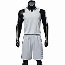 2018 New Customized Blank Brand Kids Boy And Men's Basketball Team Sport Jersey Set-Grey