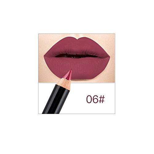 12 Colors Lip Pencils Matte Lipliner Pencil Waterproof Makeup Lips Matte  Lipstick Lip Liner Pen Smooth Cosmetics(#6)