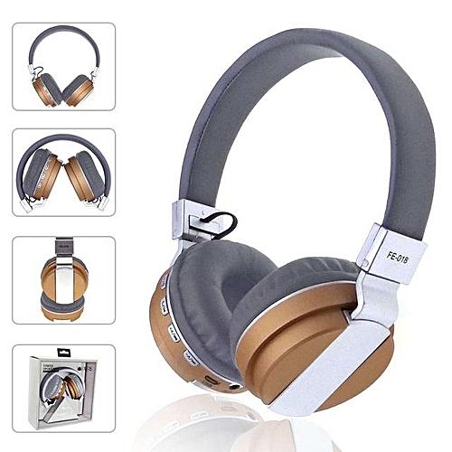Foldable Wireless Bluetooth Headphones Overear Headband Earphone With Mic Support FM Radio MicroSD TF Card - Gold