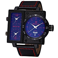Skone New  Big Case Men Watch Quartz Top Luxury Brand Leather Strap Clock Business Wristwatch Men relogio masculino (Blue) WWD