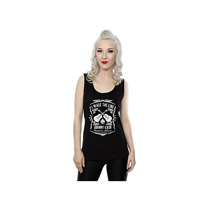 a81f0417 Fashion Cotton Funny Tee Shirt Johnny Cash Women's I Walk The Line Tank Top  Size: