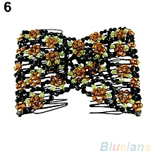 Women's Chic Stretch Rose Flower Bow Beaded Hair Comb Cuff Double Insert Clips-White