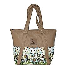 Synthetic leather and kitenge handbag