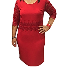 Red Short Sleeved Official Lady's Dress With Lace