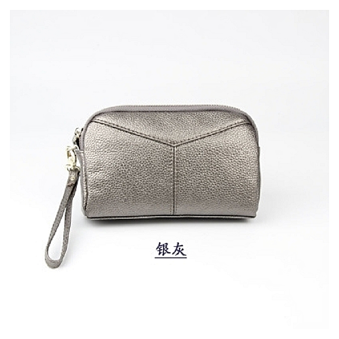 18537ebfc 【Silver gray】2018 new European and American leather clutch bag female small  bag new