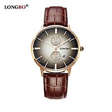 80086 Fashion Men Analog Quartz Date Calendar Watch Leather Strap Waterproof Business Couple Wristwatch for Men - Gold Brown
