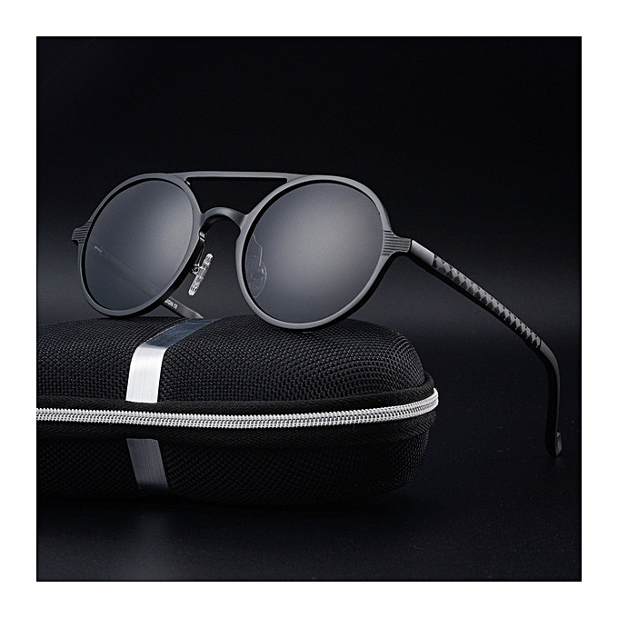 099ab568bfe New men s polarized sunglasses retro round frame fashion sunglasses-black  ...
