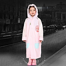 Age 3-12 Kids Reusable Raincoat Hooded With School Bag Cover, Pockets, Hood, And Sleeves(Pink XL)
