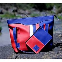 2 in 1 Ladies Faux Leather  Shoulder Bag + Pouch-Multicolor