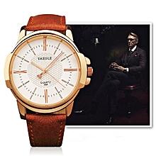 358 Men Fashion Leather Band Quartz Wrist Watch(Brown)