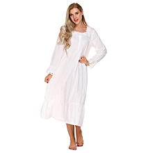 Womens Victorian Long Sleeve Pajamas Lace Patchwork Ruffled Hem Nightgown Sleepwear Dress ( White )