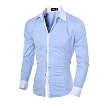 High Quality Fashion Men Slim Shirts Man Casual Long Sleeve Cotton Shirt Male Spring Autumn Tops Undershirt Clothing-blue