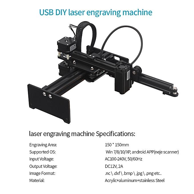 3500mw Desktop Laser Engraver Portable Engraving Carving Machine Mini  Carver DIY Laser Logo Mark Printer with Protective Glasses Working Area
